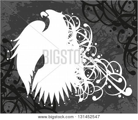 Eagle with ribbon, white eagle on grunge background, abstract