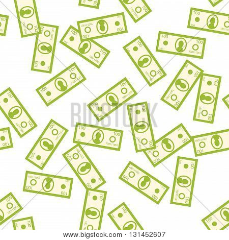 Money green seamless vector pattern. Flying money denomination on white background. Wealth symbol.
