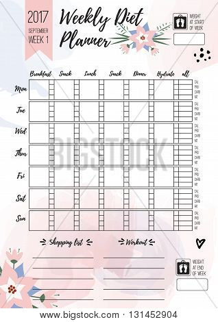 Weekly diet planner. Vector printable page for female notebook, journals or brochure. Calendar daily meal planner