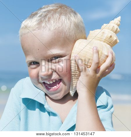 Little Boy Beach Adolescence Summer Sunlight Concept
