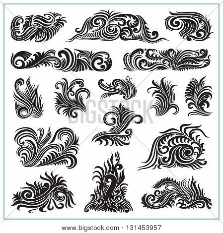 Abstract decorative ornate plants for decorations and design.