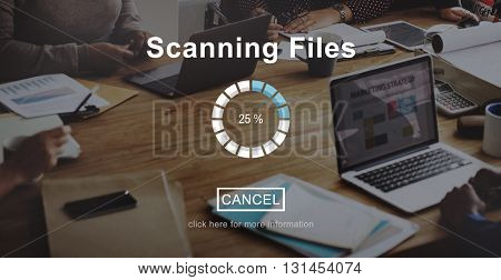 Scanning Files Security System Data Protection Technology Concept