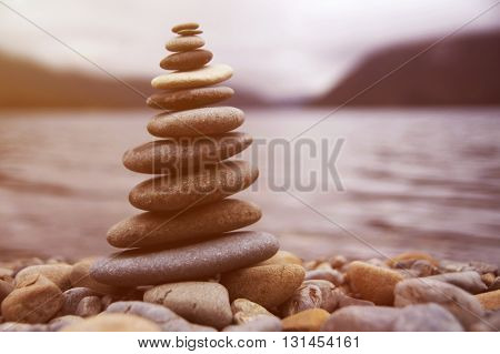 Zen Balancing Pebbles Misty Lake Meditation Concept
