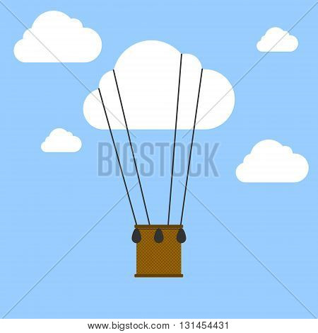 Flat design modern vector illustration of a hot air balloon concept for new business project creative start on market.