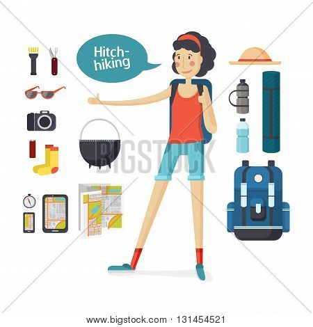 Girl hitchhiking. Young woman hitchhiking deals, tourism, hiking, camping. Set of camping equipment and tourism. Girl with big backpack hiking and travel gear in a cartoon style flat. Vector illustration