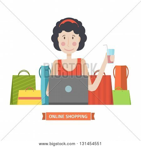 The character of a young girl with a laptop and credit card. The woman is engaged in online shopping. Online shopping home. Young girl in a cartoon style flat with bags and purchase. Vector illustration