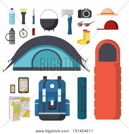 Collection of items for hiking and camping. Traveler Set - tent, sleeping bag, mat, gadgets, map. Tourist hiking backpack with things. Set of things for tourism in nature. Vector illustration