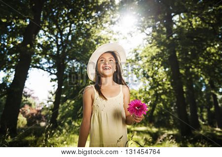 Little Girl Flower Playful Happiness Smiling Summer Concept