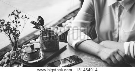 Cafe Casual Cheerful Enjoyment Networking Girl Concept
