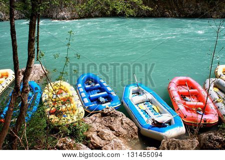 rafting boats on the fast river Tara .