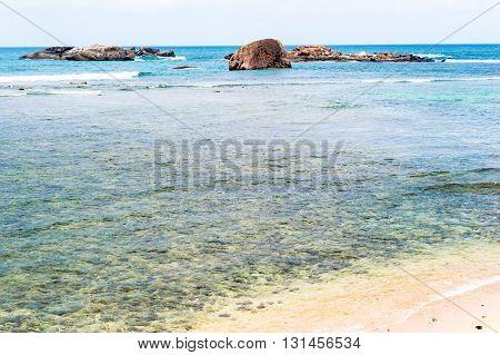Beautiful tropical beach landscape near Galle, Sri Lanka