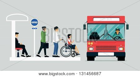 Disabled people are using the bus for the disabled.