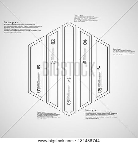 Illustration infographic template with motif of hexagon. Hexagon divided to five black parts. Each part created by double outline contour. Each part contains number text and simple sign.
