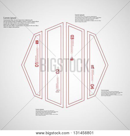 Illustration infographic template with motif of octagon. Octagon divided to four red parts. Each part created by double outline contour. Each part contains number text and simple sign.