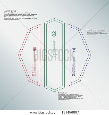 Illustration infographic template with motif of octagon. Octagon divided to three color parts. Each part created by double outline contour. Each part contains number text and simple sign.