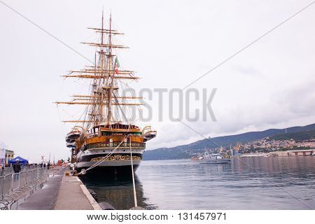 TRIESTE, ITALY - MAY, 15: The Amerigo Vespucci is a tall ship of the Marina Militare, named after the explorer Amerigo Vespucci on May 15, 2016