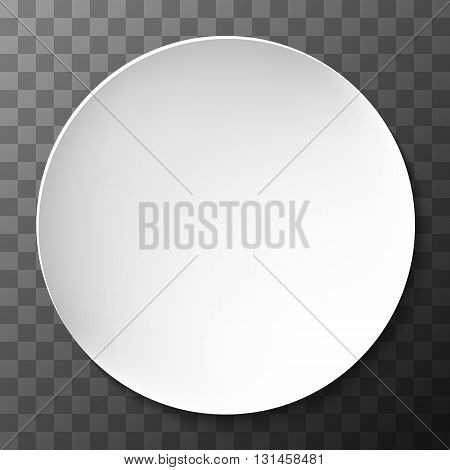 Empty white paper plate. Vector round plate Illustration on dark transparent background. Plate background for your design.