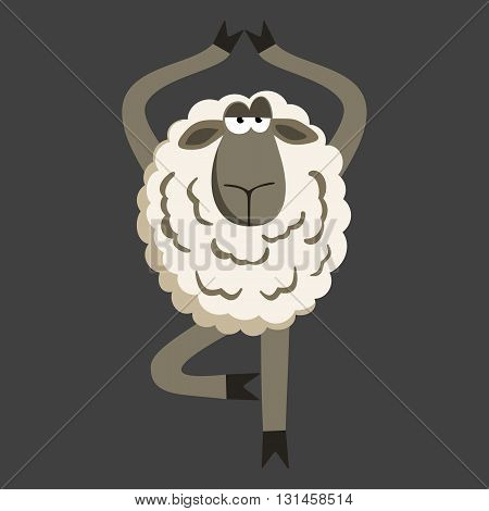 Stubborn Lamb in Yoga Tree Pose. Sheep character. Vector illustration of stubborn sheep doing yoga tree-pose on gray background