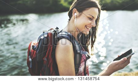 Adventure Backpack Destination Outdoor Leisure Concept