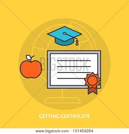 Getting certificate concept. Certificate education badge icon