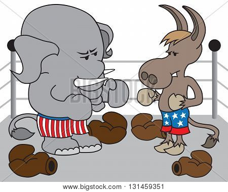 Republican elephant and Democrat donkey have taken the gloves off