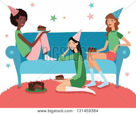Vector Teenage Girl's Birthday Party Illustration With Three Pretty Friends Celebrating Eating Cake On Couch. Perfect for a fun sleepover or pajama party event. Featuring young women, party hats, desert and stars.