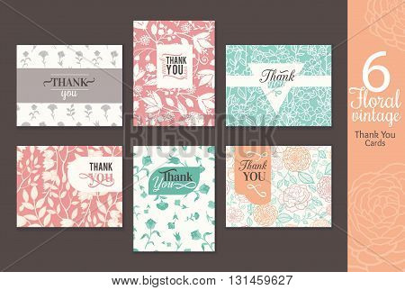 Six vintage floral wedding thank you card set with fun frmaes, text, retro floral repeat pattern backgrounds perfect for any event. Unique, elegant stationery graphic design.