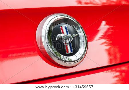 SAMARA RUSSIA - MAY 21 2016: Ford Mustang Sign Close Up. The Ford Mustang is an American automobile manufactured by Ford