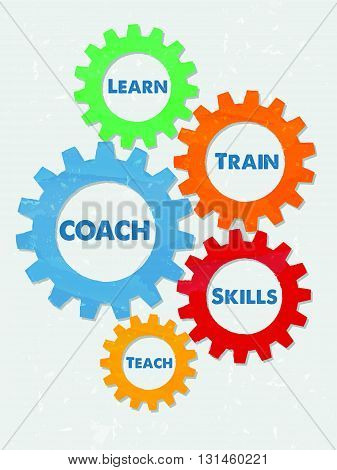 coach, learn, train, skills, teach - business education motivation concept words - blue text in colorful grunge flat design gear wheels, vector