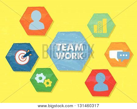 teamwork and symbols and person signs in hexagons over yellow background, grunge flat design, business team building concept, vector