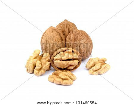 Fresh walnuts with a shell isolated on white background