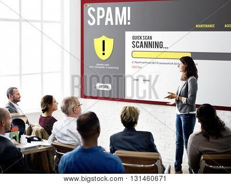 Spam Firewall Computer Problem Concept