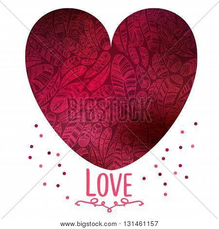 Hand drawn feathers background  with save the date type design.Beautiful Valentine's day love card. Love is in the air.Floral Heart Card. Retro feathers arranged in a shape of the heart.