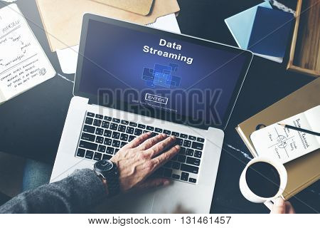Data Streaming Online Web Media Concept