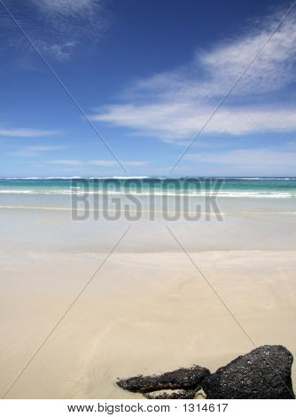 Ocean Coastline With Middle Horizon Suitable As Background.