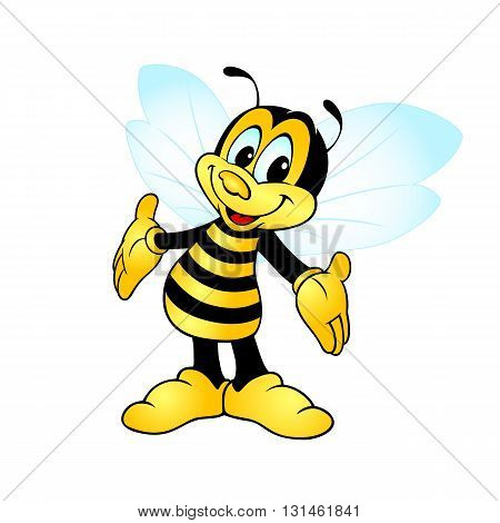 happy smiling bee standing and showing hands
