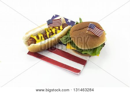 Hot dog and Hamburger on an American flag napkin and toothpick