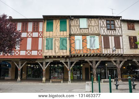 MIREPOIX FRANCE - MAY 05 2015: Old framework houses at main square of medieval village Mirepoix in southern France