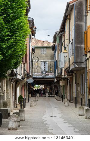 MIREPOIX FRANCE - MAY 05 2015: Old stone houses in historical center of medieval town Mirepoix in southern France