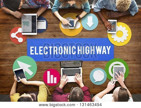 Electronic Highway Internet Information Online Concept