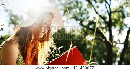 Woman Reading Book Leisure Activity Nature Park Concept