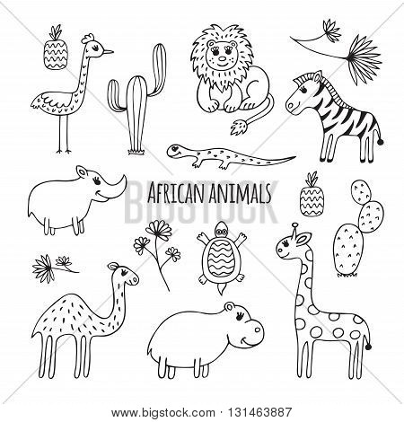 Cute vector set of africa animals in cartoon style. Black and white sketch.  Hippo, lizard, Rhino, cactus, ostrich, lion, giraffe, camel, Zebra, turtle.