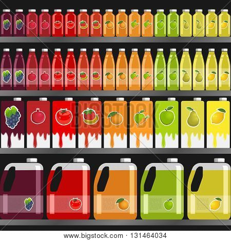 Shelves with juices in different packaging (glass bottles Tetra canister) in the supermarket on a dark background