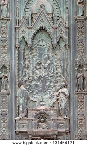 FLORENCE, ITALY - JUNE 05: Scenes from the life of Mary detail of door of Cattedrale di Santa Maria del Fiore (Cathedral of Saint Mary of the Flower), Florence, Italy on June 05, 2015
