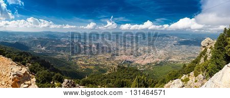 panoramic view from the mountains on the island of Sardinia in clear weather, Monte Corrasi, Italy