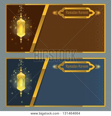 Ramadan kareem greeting card design template with light effect and lamp. Vector Flyer or brochure design with Particle star light effect and ornament background. Golden frame