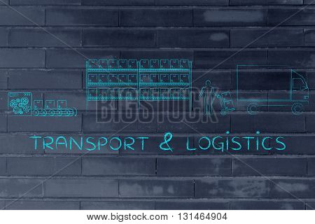 Items Being Produced, Stocked And Shipped: Transport & Logistics