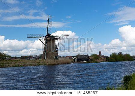 Dutch windmills with at Kinderdijk Netherlands historic
