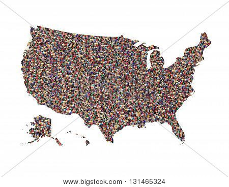map of USA with crowd of different people isolated on the white
