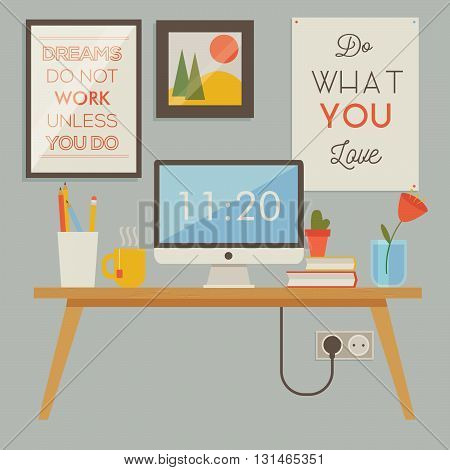 Vector illustration of cosy workspace. Flat minimalistic style and retro colors. Modern creative office. Wall with motivational posters on it.